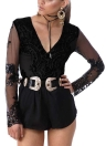 Mulheres Bodysuit Sequined Jumpsuit Playsuit Rompers Black / Gold