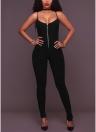 Women Solid Jumpsuit Front Zipper Playsuit Slim Overalls Long Pants