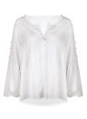 Pearls Beading Chiffon Long Sleeve V Neck Elegant  Blouse