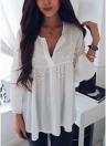 Perlas rebordear gasa de manga larga con cuello en V elegante blusa