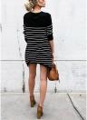 Striped O Neck Long Sleeves Asymmetric Long Tee Shirt