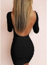 Scoop Neck Long Sleeve Backless Ruched Bodycon Mini Dress