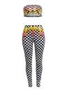 Femmes Plaid Imprimé Deux pièces Crop Top Skinny Pantalons Leggings Costumes