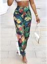 Frauen-Blumenhosen-elastische hohe Taillen-Seiten-Knöpfe Drawstring-lose Hosen-Grün