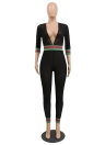 Sheer Mesh Contras Stripes Deep V Neck 3/4 Sleeve Jumpsuit