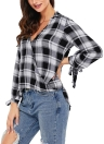 Camisa de xadrez casual para mulheres Tampas de blusa solta