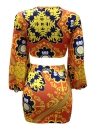 Mágica de lanterna de impressão africana Mini vestido de arco com pescoço profundo Mini