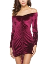 Velvet Off the Shoulder Drawstring Ruched Long Sleeve Bodycon Mini robe fourreau