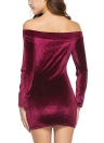 Velvet Off the Shoulder Drawstring Ruched Long Sleeve Bodycon Mini Pencil Dress