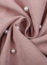 Beaded O-Neck 3/4 Sleeve Solid A-Line Mini Dress