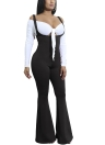 Solid Suspender Strap Sleeveless Open Back Wide Flared Legs Jumpsuit