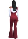 Solide Strapsgürtel ärmellos offener Rücken weit ausgestellte Beine Overall