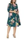 Vestido plisado de media manga floral cuello redondo