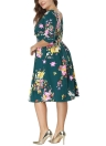 Plus Size Floral Round Neck Half Sleeve Pleated Dress