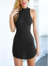 O Neck Sleeveless Cutout Back Party Bandage Bodycon Mini Dress