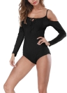 Women Playsuit Rompers Ribbed Solid Bodysuits Skinny Knit Jumpsuits Bodycon Overalls
