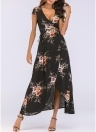 Women Floral Print Dress Wraparound V Neck High Waist  Swing Maxi Dress