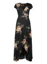 Vestido estampado floral de las mujeres vestido maxi de la cintura alta con cuello en V envolvente