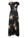 Femmes Floral Imprimer Robe Wraparound V cou taille haute Swing Maxi Dress