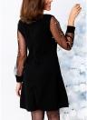 Vestido de mujer perla rebordear Mesh Tunic Boat Neck elegante vestido