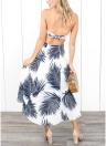 Women Dress Contrast Leaves Print  Open Back Maxi Gown Casual Holiday Wear