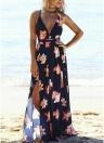Women Maxi Dress Floral Print Deep V Split Bandage Backless Beach Long Slip Dress