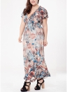 Mulheres Tamanho Plus Bohemian Long Dress V Neck manga curta Butterfly Beach Maxi Dress