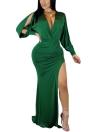 Les femmes haute Split robe solide profonde col en V à manches longues Bodycon Culbwear Party Dress