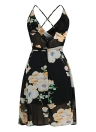 Floral Print Sleeveless Backless V Neck Spaghetti Strap Chiffon Dress