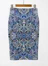 Eometric Print High Waist Split Slim Элегантный OL Bodycon Midi Skirt