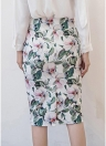 Floral Print High Waist Split Vintage Slim Elegant OL Bodycon Midi Skirt