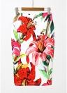 Floral Print High Waist Split Vintage Slim Elegant OL Bodycon Midi Skirt