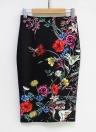 Vintage Blumendruck mit hoher Taille Split Slim elegante OL Bodycon Midi Rock