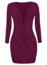 Femmes Twist Front Bodycon Dress manches longues Party Club Slim Mini Dress