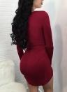 Women Twist Front Bodycon Dress Long Sleeve Party Club Slim Mini Dress