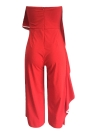 Women Jumpsuit Contrast Trim Strapless Backless Wide Leg Playsuit Rompers