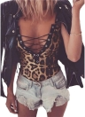 Leopard Lace Up Bodysuit Deep V Neck Camis Overalls