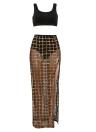 Sheer Mesh Sequin Plaid Split Skirt High Waist Vest Skirt Set