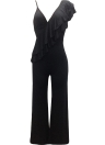 Ruffle Jumpsuit One Shoulder Strap Backless Wide Leg Playsuit Rompers