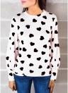 Frauen Bluse Herz Print High Neck Langarm Casual T-Shirt T-Tops