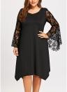 Женское кружевное платье Flare Sleeve O-Neck Asymmetric Sexy Loose Party Dress