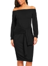 Femmes Dress Tie Front Moulante Solide Robe Party Clubwear