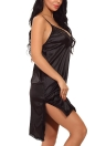 Women Satin Slip Dress Chemise Nightgown Lace  Asymmetrical Hem Lingerie Sleepwear Pajamas