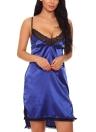Women Satin Slip Dress Chemise Nightgown Lace  Asymmetrical Hem Lingerie Sleepwear Pajamas