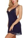Femmes Slip Dress Chemise Chemise de nuit festonnée Dentelle Racer Retour Lingerie Pyjamas vêtements de nuit
