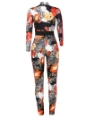 Frauen One Piece Outfit Printed Overall Frontzipper Lange Hosen Strampler Playsuit