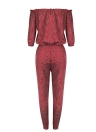 Women  Jumpsuit Elastic Waist Pockets Dot Playsuit Rompers Red