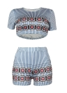 Mulheres Stripe Top Curto Shorts Set T-Shirt 2 Piece Set Outfit Casual