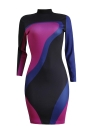 Sequin Color Block Contrast Stand Collar Clubwear Bodycon Mini Dress