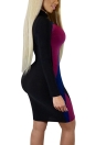 Pailletten Color Block Kontrast Stehkragen Clubwear Bodycon Minikleid